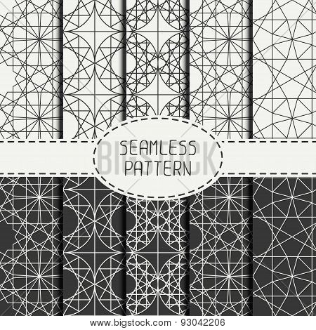Set of geometric line lattice seamless arabic pattern. Islamic oriental style. Collection of wrappin