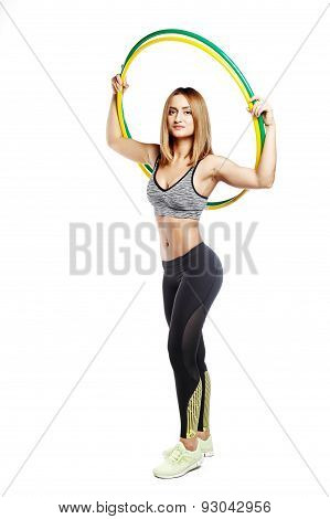 Sportish Girl Stay In Studio With Hoop