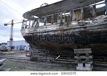 Old Wooden Fishing Ship On Reconstruction In Docks