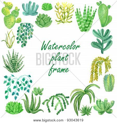 Watercolor plants vector frame for text