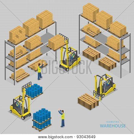 Warehouse loading isometric vector illustration.