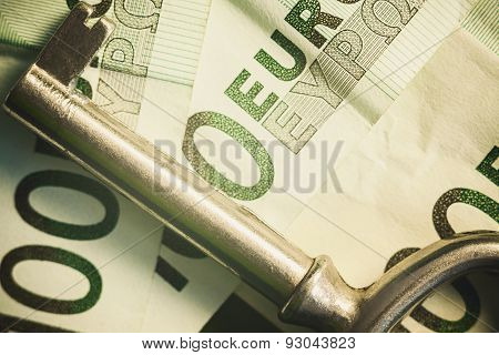 Euro Banknotes And Key