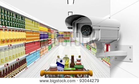 Security surveillance camera with supermarket interior as background