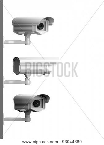 Three security surveillance cameras side view isolated on white background