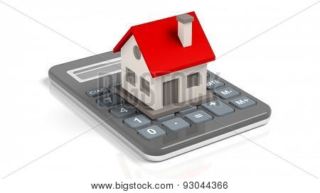 House model on a calculator  isolated on white background