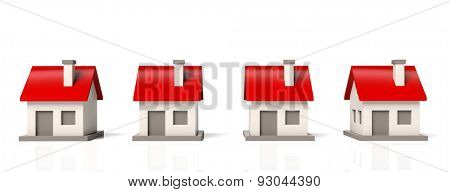 House models in row  isolated on white background