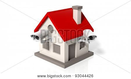 House model with surveillance cameras isolated on white background