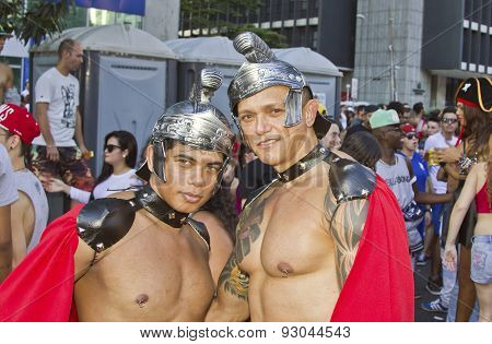 Two Persons Wearing Costumes In Pride Parade Sao Paulo