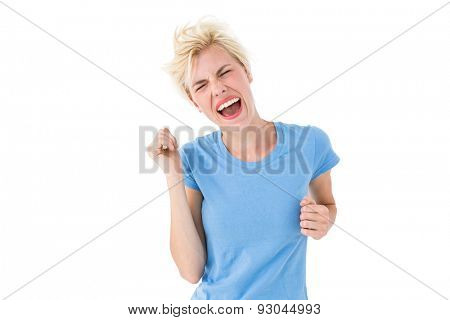 Furious blonde woman shouting on white background