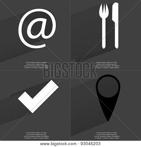 At Sign, Fork And Knife, Tick, Checkpoint. Symbols With Long Shadow. Flat Design