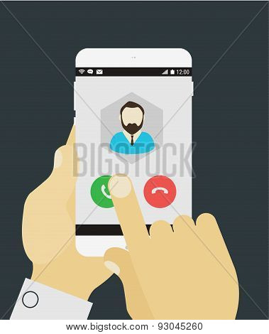 Hand answering to call on mobile device