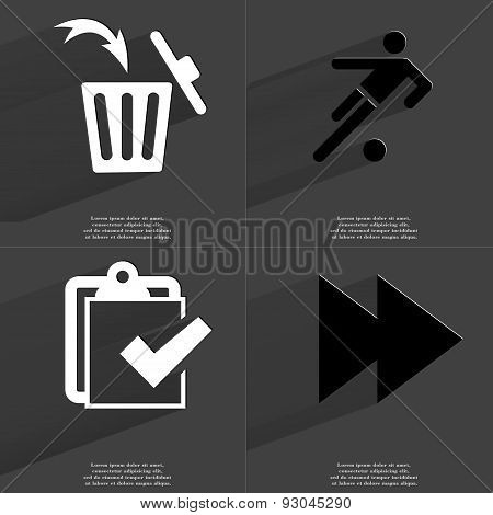 Trash Can, Silhouette Of Football Player, Task Completed Icon, Two Arrows Media Icon. Symbols With L