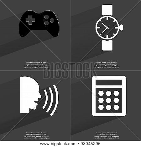 Gamepad, Wrist Watch, Talk, Calculator. Symbols With Long Shadow. Flat Design