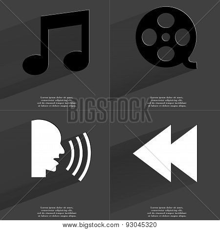Note Sign, Videotape, Talk, Two Arrows Media Icon. Symbols With Long Shadow. Flat Design