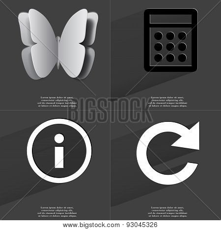 Butterfly, Calculator, Information Sign, Reload Icon. Symbols With Long Shadow. Flat Design