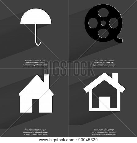Umbrella, Videotape, House. Symbols With Long Shadow. Flat Design