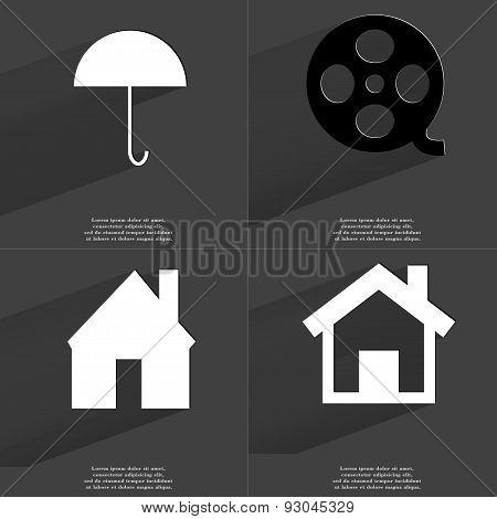 Umbrella, Videotape, House. Symbols With Long Shadow. Flat Design