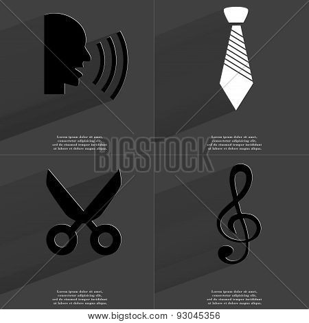 Talk, Tie, Scissors, Clef. Symbols With Long Shadow. Flat Design