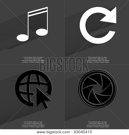 Note, Reload, Web Icon Cursor, Lens. Symbols With Long Shadow. Flat Design