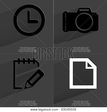 Clock, Camera, Note Icon, File Icon. Symbols With Long Shadow. Flat Design
