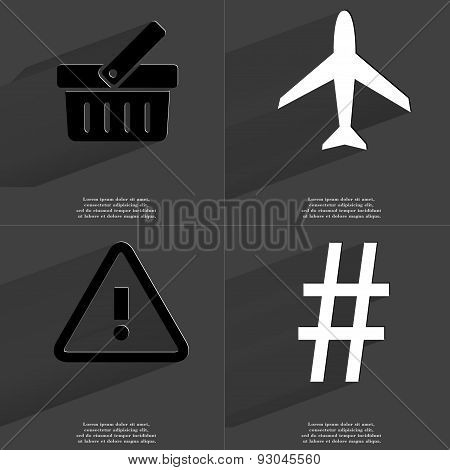 Basket, Airplane, Warning Sign, Number Sign. Symbols With Long Shadow. Flat Design