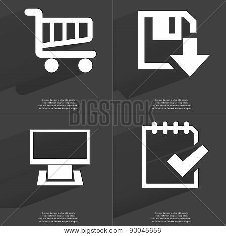 Shopping Cart, Floppy Disk Download Icon, Monitor, Task Completed Icon. Symbols With Long Shadow. Fl