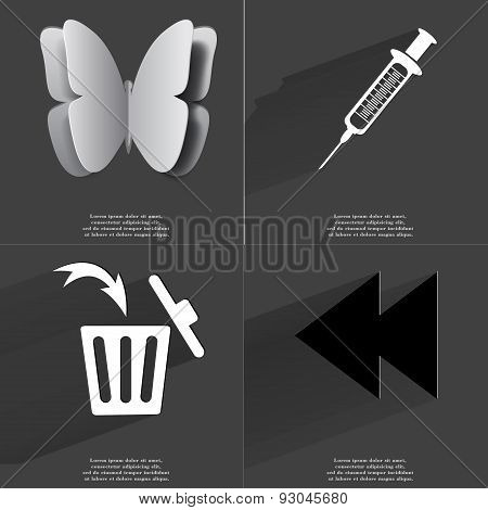 Butterfly, Syringe, Trash Can, Two Arrows Media Icon. Symbols With Long Shadow. Flat Design