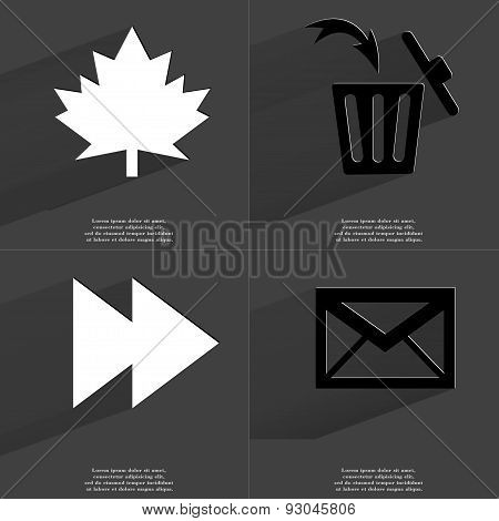 Maple Leaf, Trash Can, Two Arrows Media Icon, Message. Symbols With Long Shadow. Flat Design