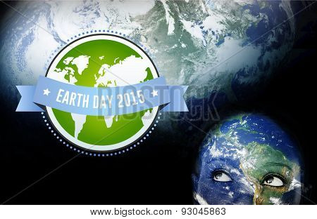 Earth day 2015 against earth overlay on face