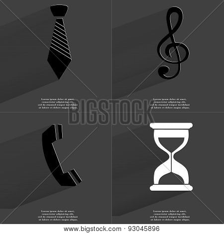 Tie, Clef, Receiver, Hourglass. Symbols With Long Shadow. Flat Design
