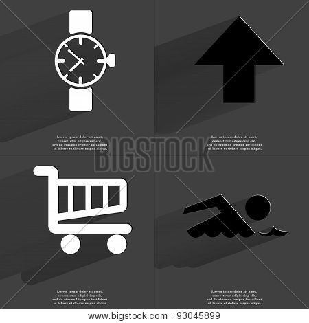 Wrist Clock, Arrow Directed Upwards, Shopping Cart, Silhouette Of Swimmer. Symbols With Long Shadow.