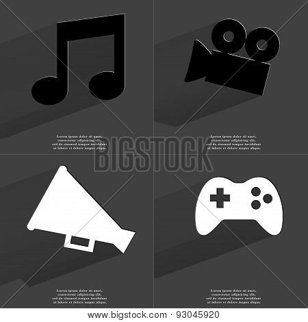 Note Sign, Film Camera, Megaphone, Gamepad. Symbols With Long Shadow. Flat Design