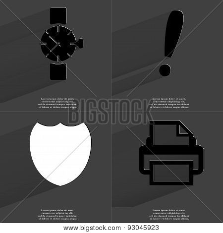 Wrist Watch, Exclamation Mark, Badge, Printer. Symbols With Long Shadow. Flat Design