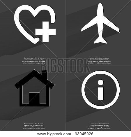 Heart Plus, Airplane, House, Information. Symbols With Long Shadow. Flat Design