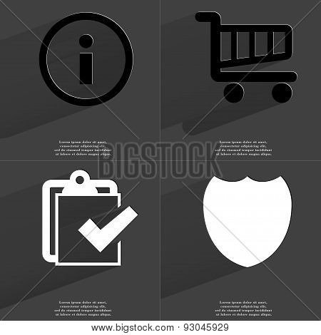 Information Sign, Shopping Cart, Task Completed Icon, Badge. Symbols With Long Shadow. Flat Design