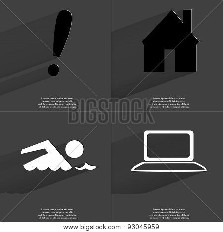 Exclamation Mark, House, Silhouette Of Swimmer, Laptop. Symbols With Long Shadow. Flat Design