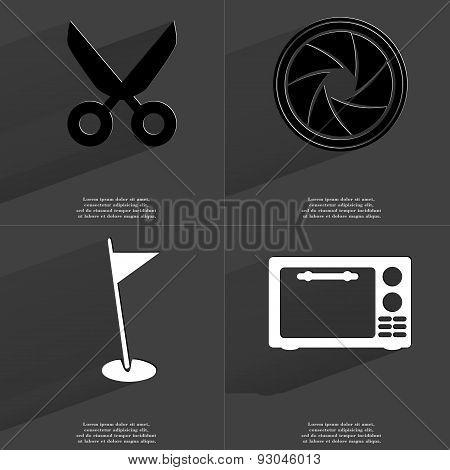 Scissors, Lens, Golf Hole, Microwave. Symbols With Long Shadow. Flat Design