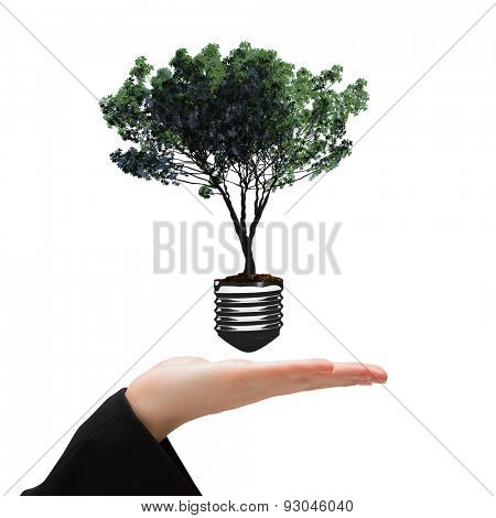 Hand presenting against empty light bulb