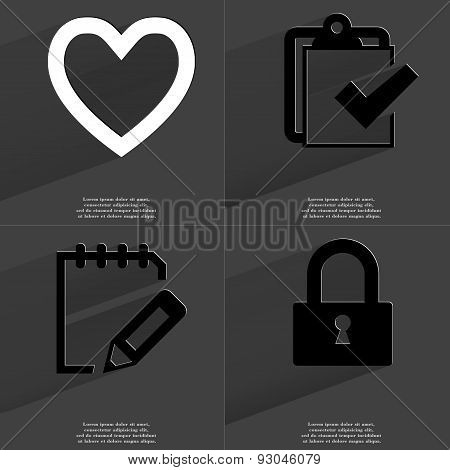 Heart, Task Completed Icon, Note, Lock. Symbols With Long Shadow. Flat Design