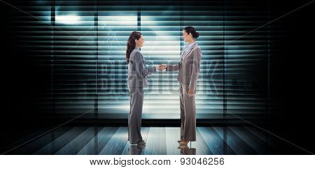 Businesswomen shaking hands against room with large window looking on city