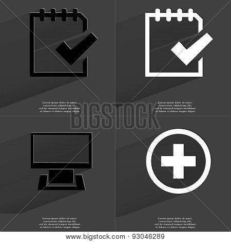 Task Completed Icon, Monitor, Plus Sign. Symbols With Long Shadow. Flat Design