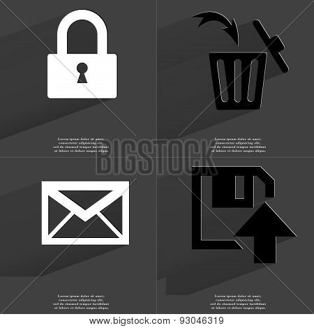 Lock, Trash Can, Message, Floppy Disk Upload Icon. Symbols With Long Shadow. Flat Design