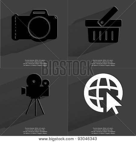 Camera, Basket, Film Camera, Web Icon Cursor. Symbols With Long Shadow. Flat Design