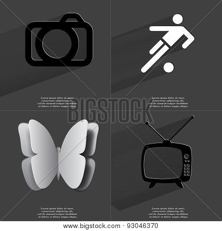 Camera, Silhouette Of Football Player, Butterfly, Retro Tv. Symbols With Long Shadow. Flat Design