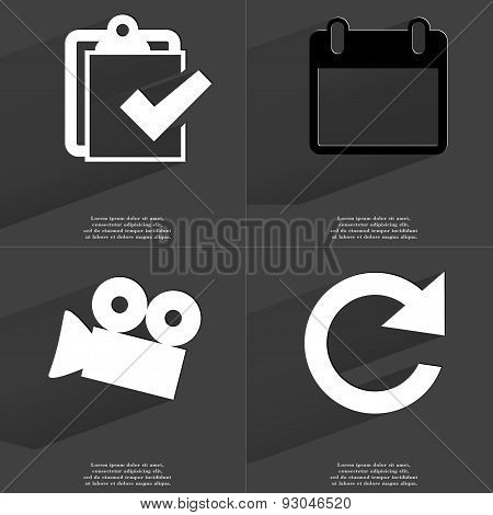 Task Completed Icon, Calendar, Film Camera, Reload Icon. Symbols With Long Shadow. Flat Design