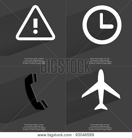 Warning Sign, Clock, Receiver, Airplane. Symbols With Long Shadow. Flat Design