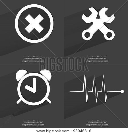 Stop Sign, Wrenches, Clock, Pulse. Symbols With Long Shadow. Flat Design