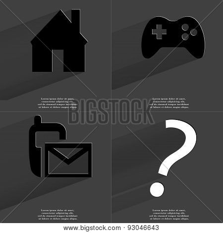 House, Gamepad, Sms Icon, Question Mark. Symbols With Long Shadow. Flat Design