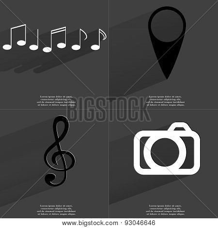 Notes, Checkpoint, Clef, Camera. Symbols With Long Shadow. Flat Design