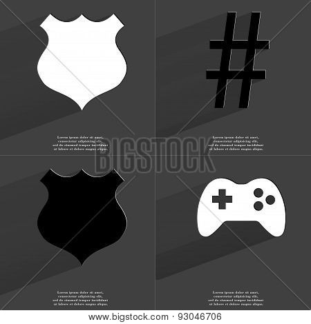 Police Badge, Number Sign, Gamepad. Symbols With Long Shadow. Flat Design